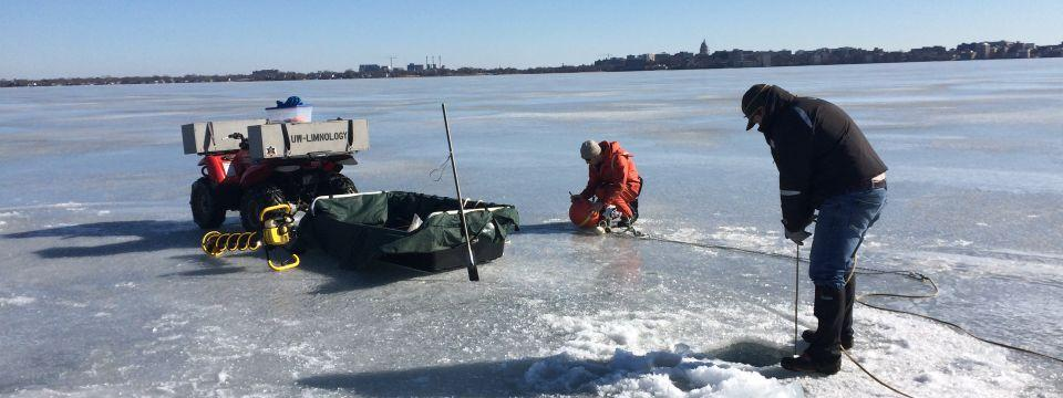 Deploying the under-ice buoy